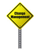 Change management Change management Gepost op een gele teken. — Stockfoto
