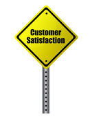 Customer satisfaction posted on a yellow sign. Vector file available — Stock Photo
