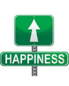 Road to happiness green street sign isolated over a white background. — Stock Photo