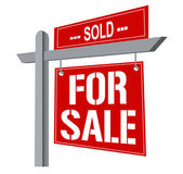 Real estate sign over white — Stock Photo