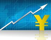 Yen currency trading graph. vector file available — Stock Photo
