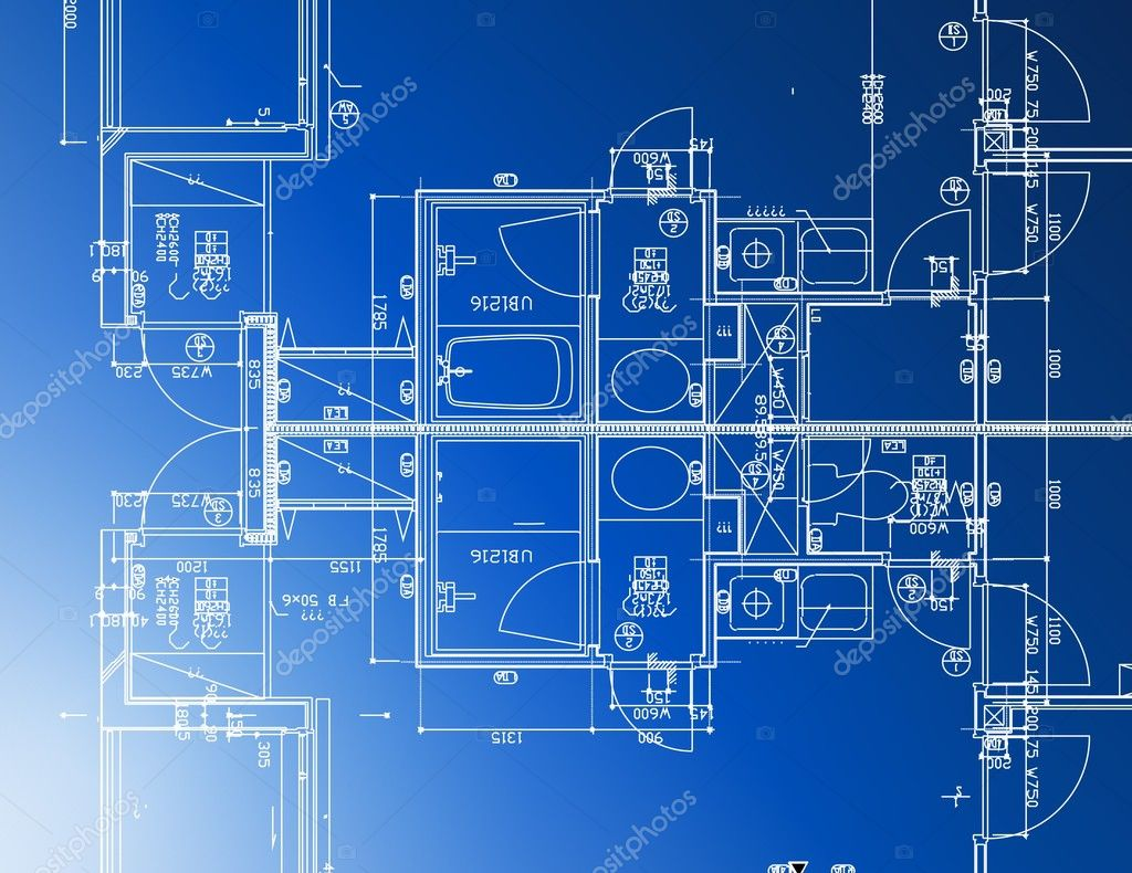 Sample of architectural blueprints over a blue background for Architecture blueprints