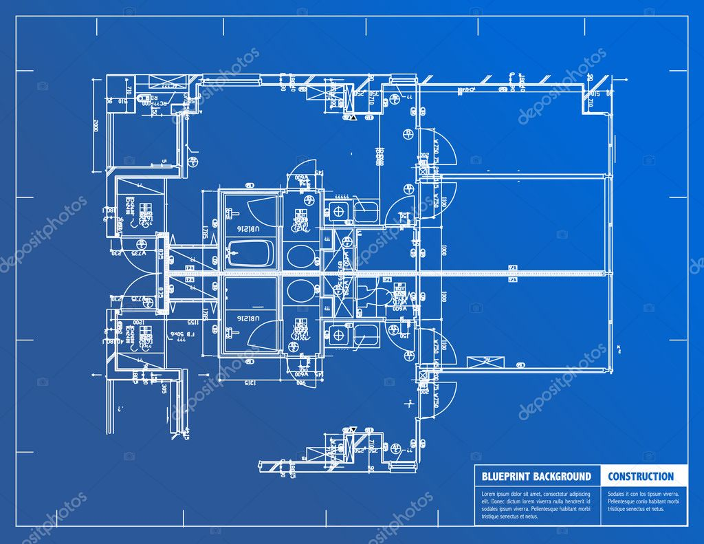 Sample of architectural blueprints over a blue background — Stock Photo #6413584
