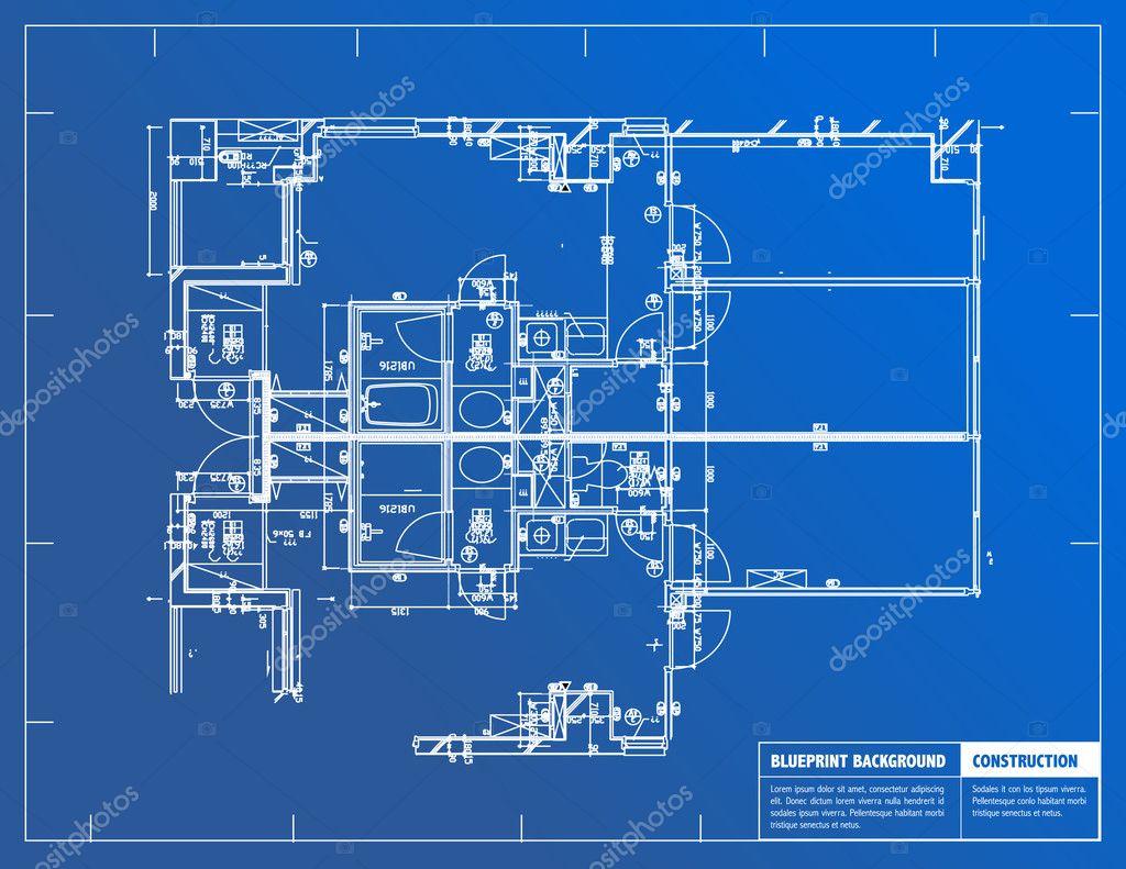 Floor Plan Of Big Brother House Примеры архитектурных чертежей на синем фоне Стоковое