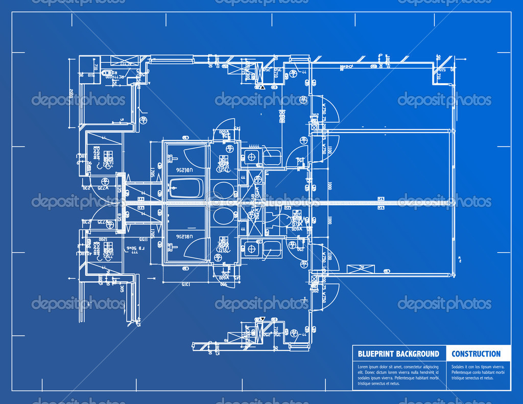 Sample of architectural blueprints over a blue background for House blueprint images