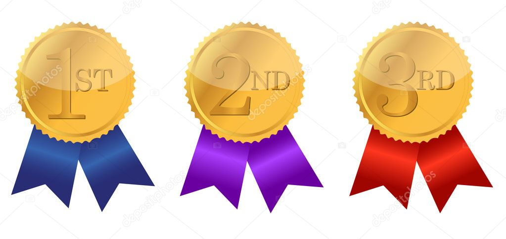 Gold award ribbons with place numbers illustration design  — Stock Photo #6413765