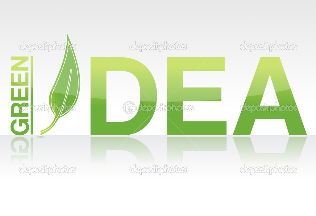Rendered Green idea word isolated over white   Stock Photo #6414441