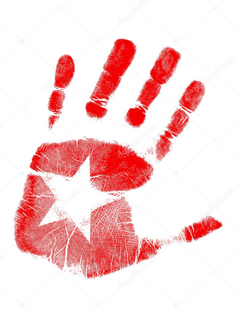 Star handprint  — Stock Photo #6414481