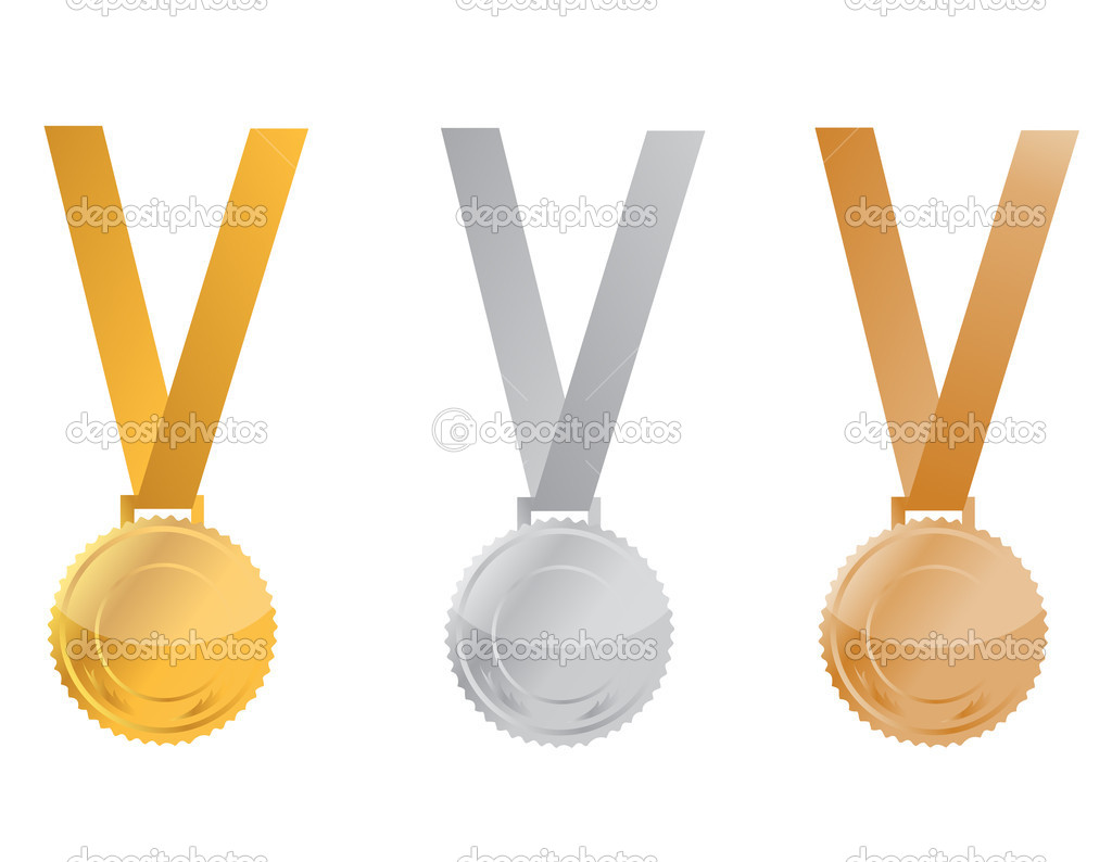 Three Medals of Achievement, gold, silver and bronze. inside area of medal can be personalized  — Stock Photo #6414493