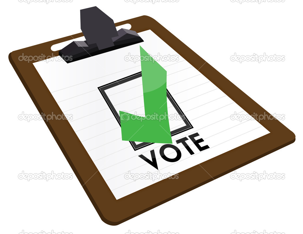 Clipboard Checkbox with green checkmark and the word vote. — Stock Photo © alexmillos #6415367