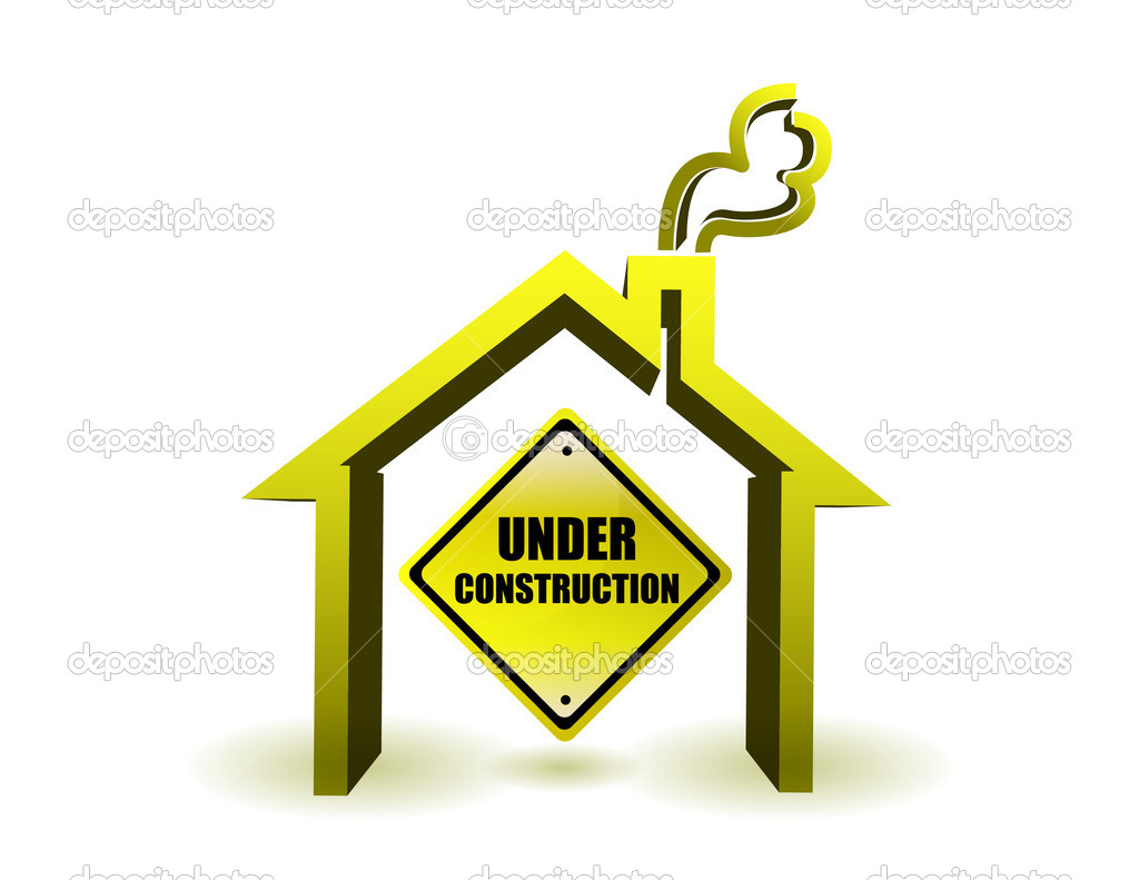 Under Construction House Illustration Design Over White Stock Image