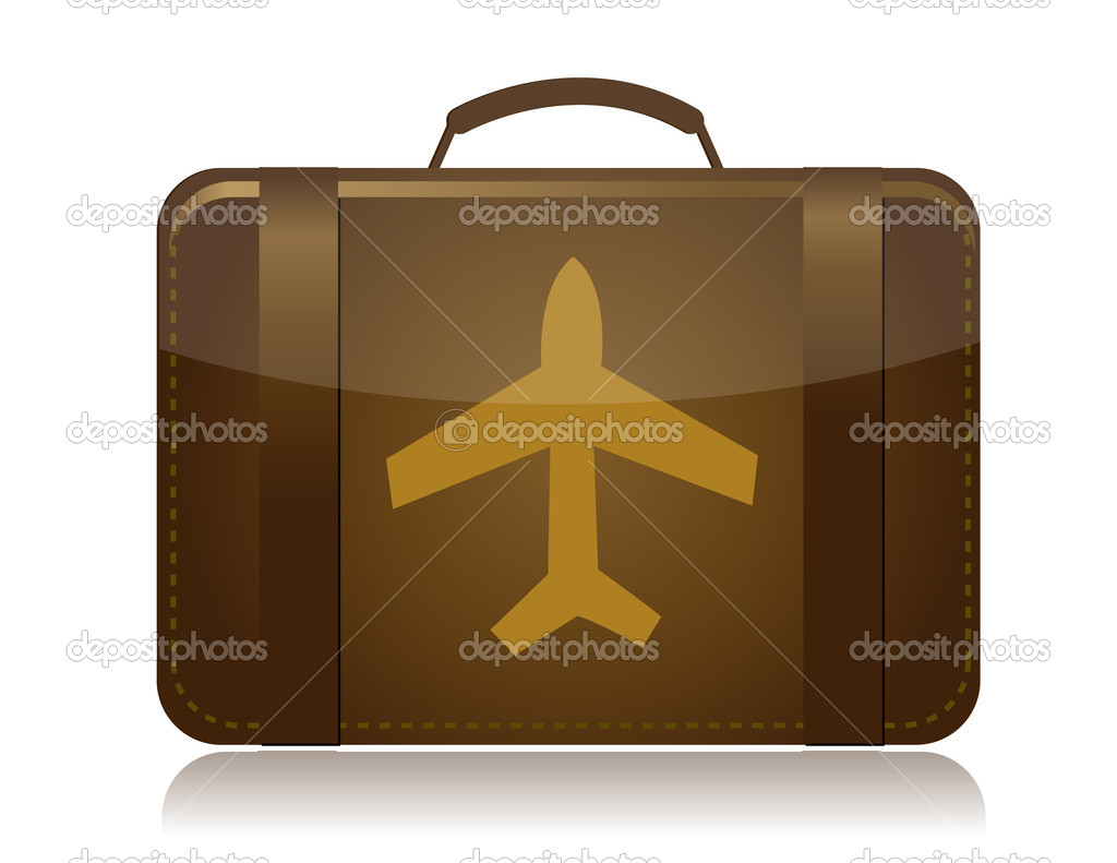 Airplane luggage brown illustration design isolated over white — Stock Photo #6417698