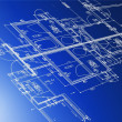 Photo: Sample of architectural blueprints over a blue background / Blueprint