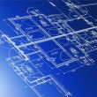 Stock Photo: Sample of architectural blueprints over blue background / Blueprint