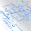 Foto Stock: Sample of architectural blueprints over a light gray background / Blueprint