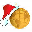 Santa hat over gold globe - Stock Photo