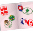 Passport illustration design with around the world stamps — Stock Photo