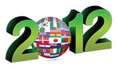 New year 2012 illustration with 3d flag globe — Stock Photo