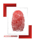 Illustration of access denied sign with thumb on isolated background — Stock Photo