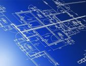 Sample of architectural blueprints over a blue background / Blueprint — Stockfoto