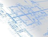 Sample of architectural blueprints over a light gray background / Blueprint — Stock Photo