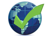 World globe and checkmark over a white background — Stock Photo