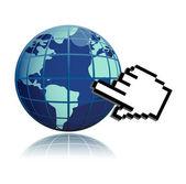 Mano cursor y mundo globo diseño ilustración sobre blanco — Foto de Stock