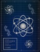 Atoms and DNA matching background illustration design — Stock Photo