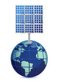 Earth and solar panels isolated on white background — Stok fotoğraf