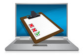 Laptop display with a survey clipboard illustration — Stock Photo