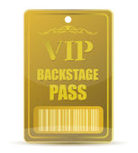 Gold VIP backstage pass with bar code, isolated on white background. — Stock Photo