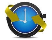 Ilustración de horas pasando con flechas aisladas en el blanco — Foto de Stock