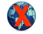 World globe and x mark over a white background — Stock Photo