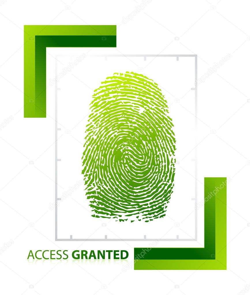 Illustration of access granted sign with thumb on isolated background — Stock Photo #6422890