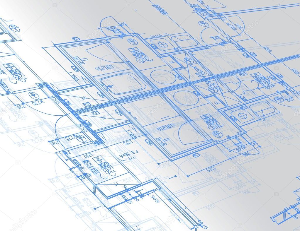Sample of architectural blueprints over a light gray for Blueprints website