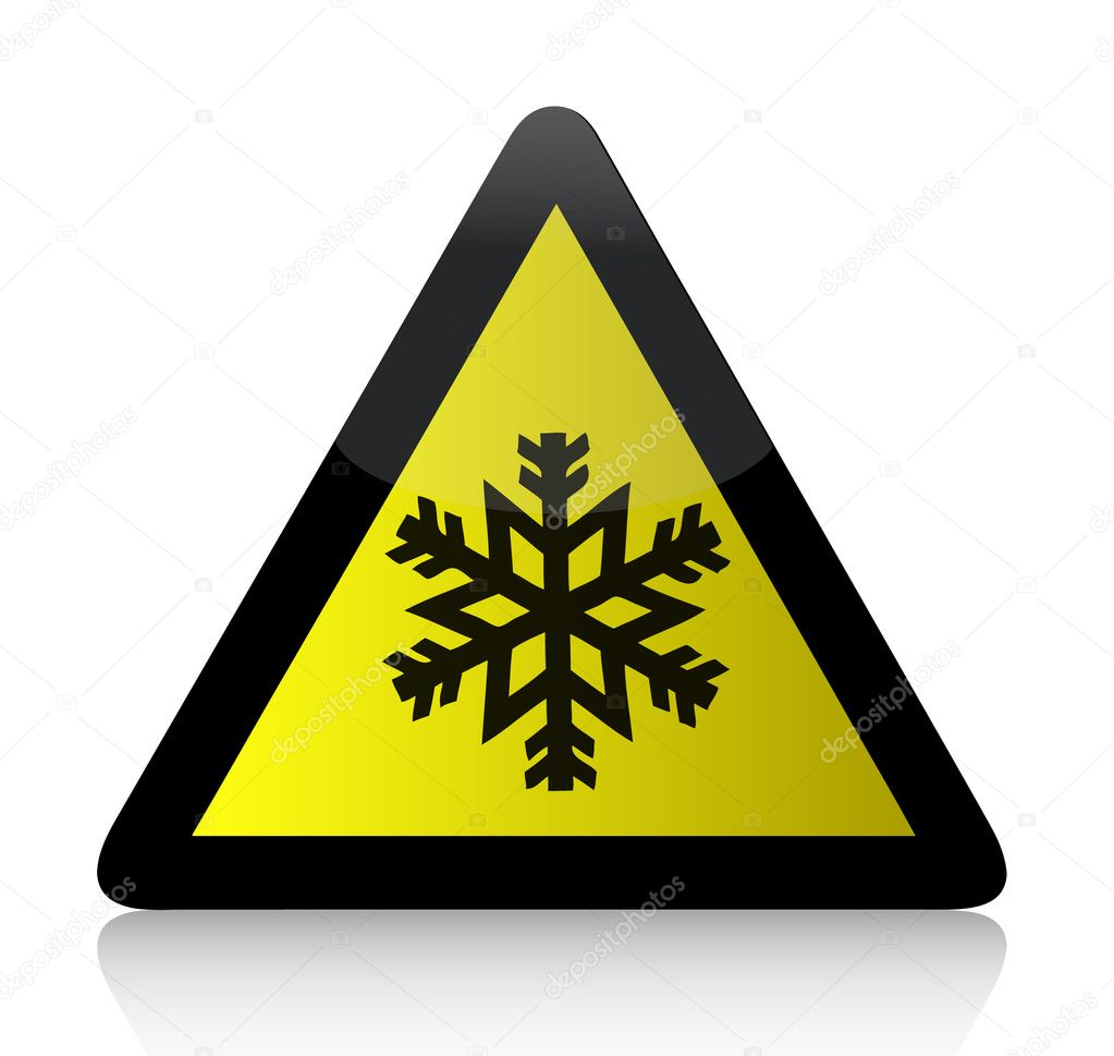 Cold Warning Triangular Sign illustration design over white — Stock Photo #6423094