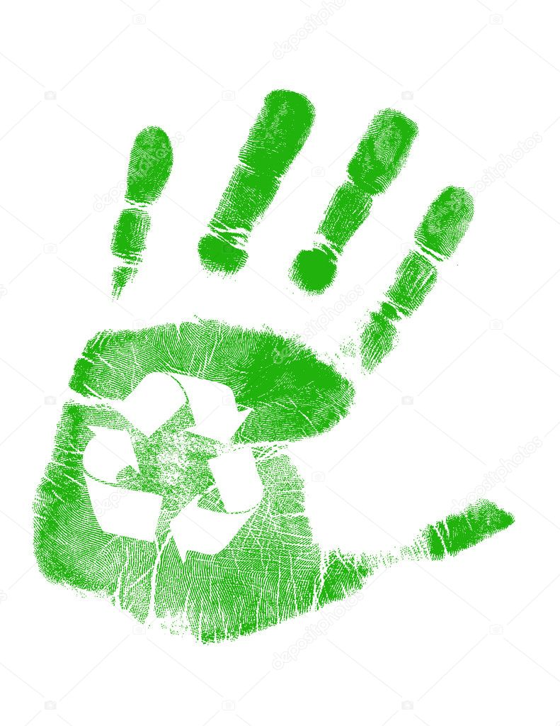 Green handprint with recycling symbol in palm over white — Stock Photo #6423328