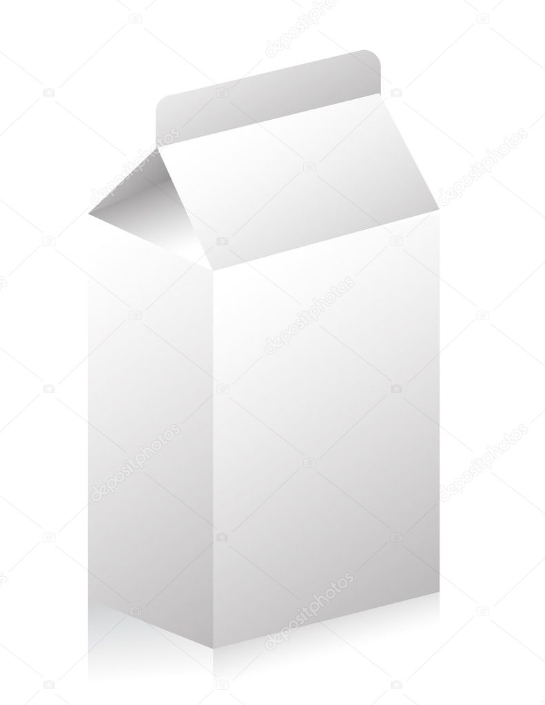 Blank paper carton for milk or fruit juice illustration — Stockfoto #6423433