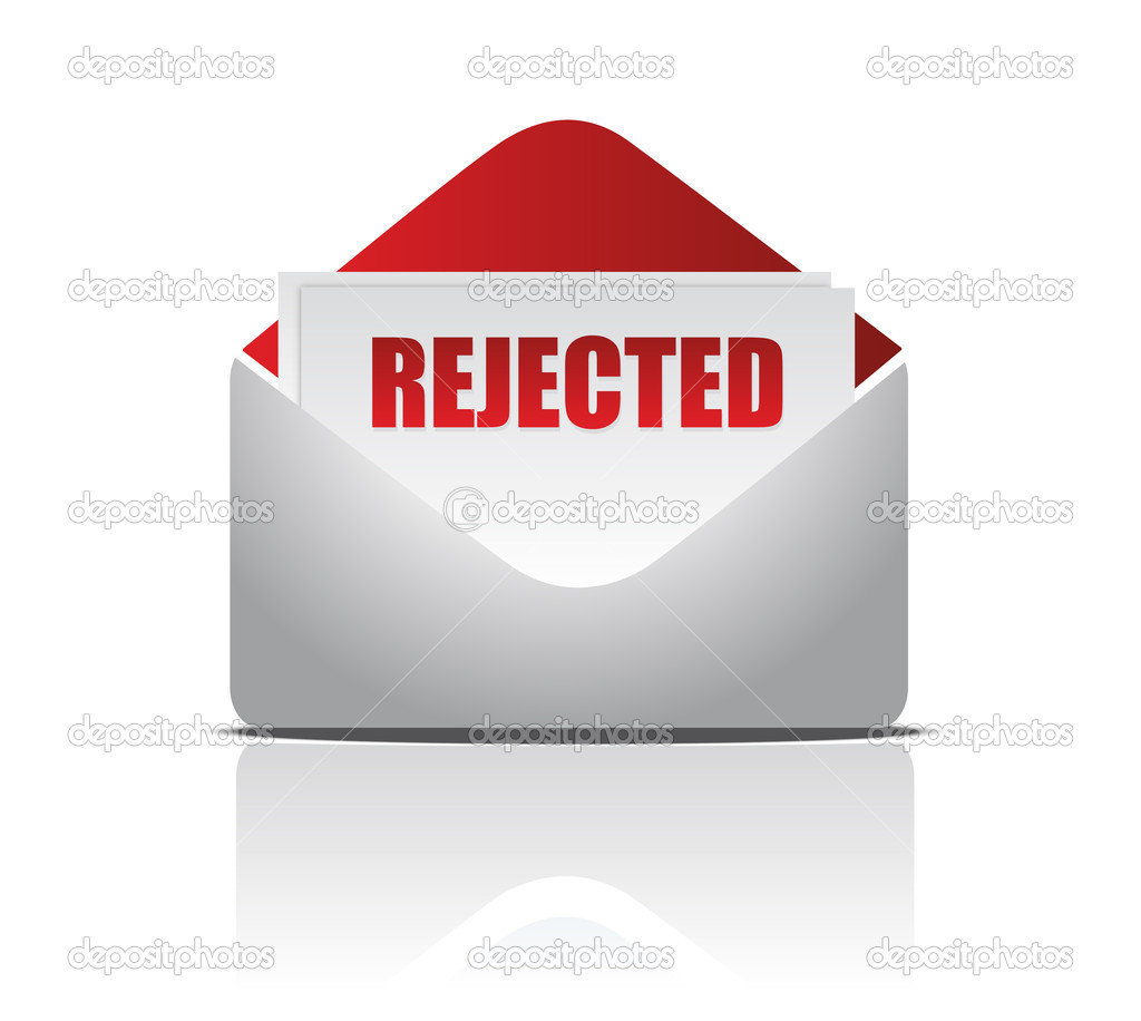Rejected (letter)  illustration of mail envelope over white background  — 图库照片 #6423568