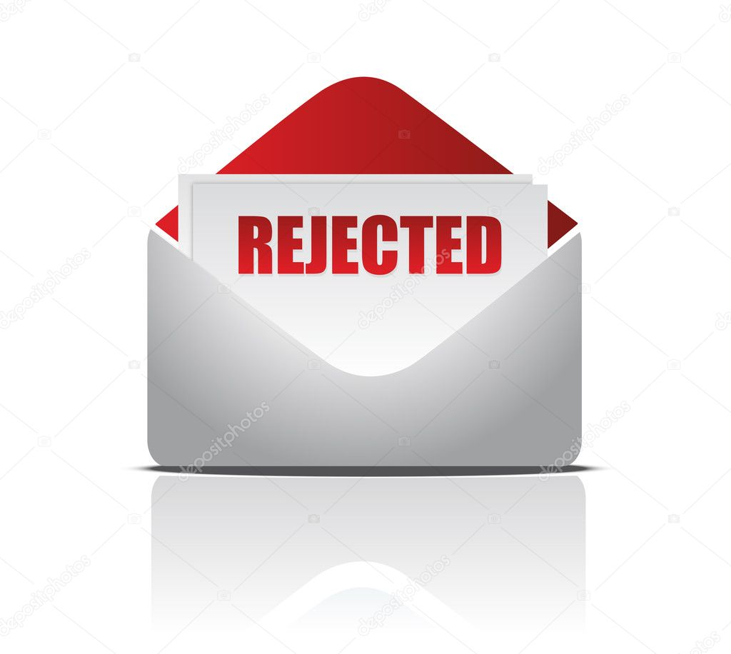 Rejected (letter)  illustration of mail envelope over white background  — Stockfoto #6423568
