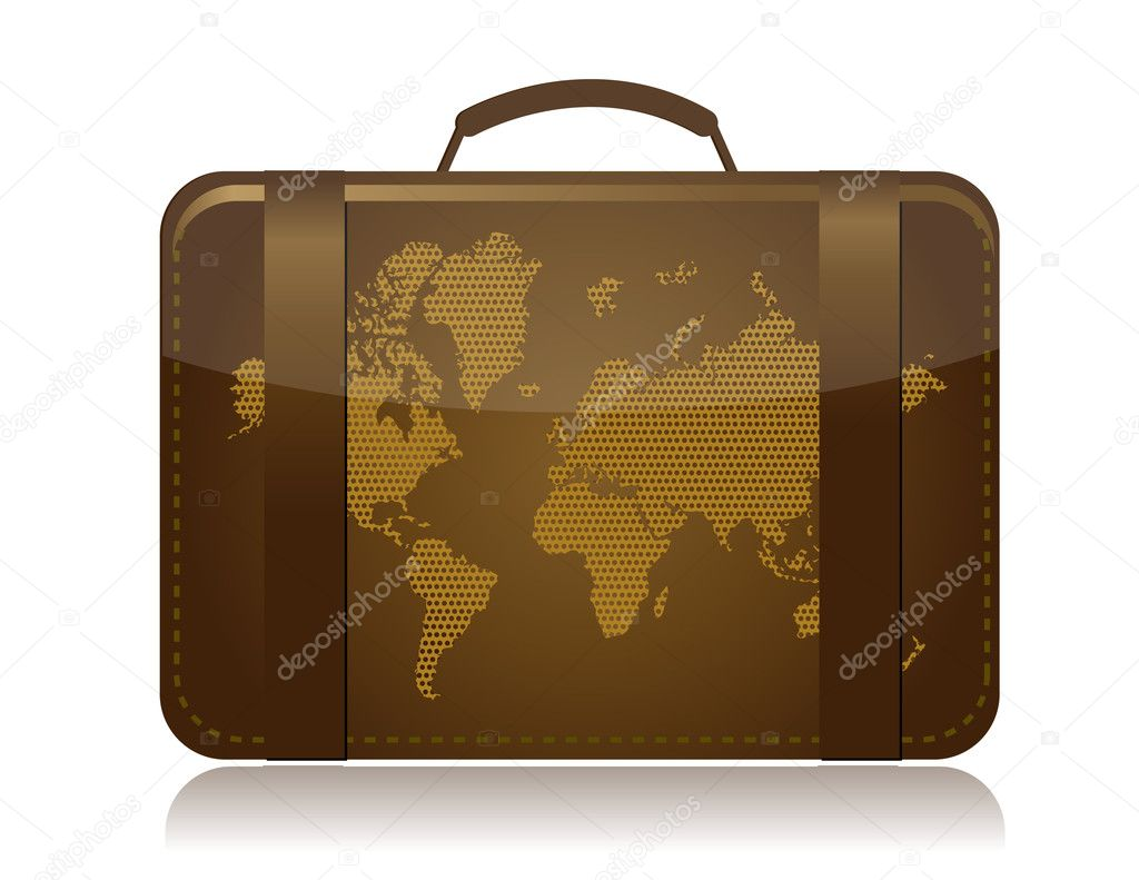 Travel luggage illustration concept over white - Stock Image