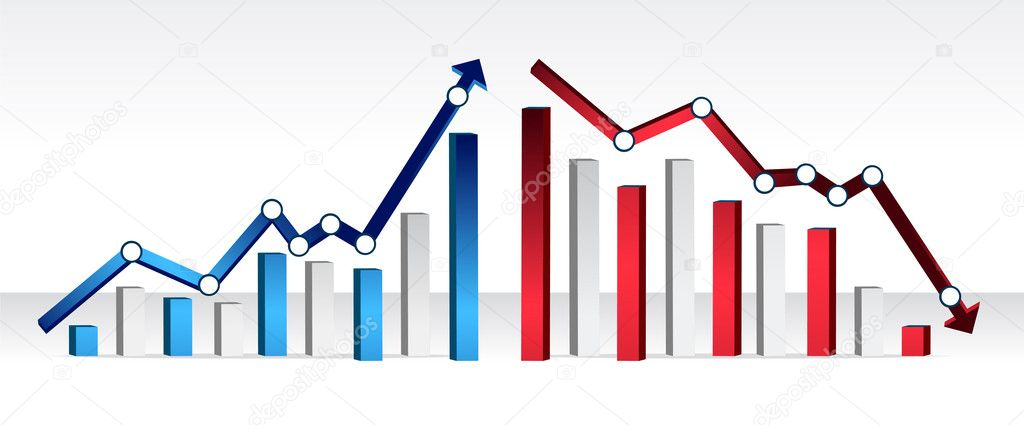 Up and down financial chart illustration design  Stock Photo #6423630