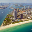 Miami Skyline - view from Plane - Stock Photo