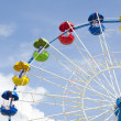 Ferris wheel detail on a blue sky — Stock Photo