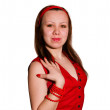 Stock Photo: Woman in a red