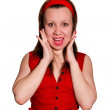 Young Beautiful Surprised Woman — Stock Photo