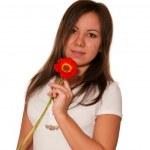 žena s gerber — Stock fotografie