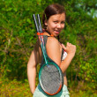 Girl with racket — Stock Photo