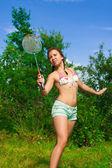 Girl with racket — Stock Photo