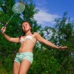 dívka s raketou — Stock fotografie
